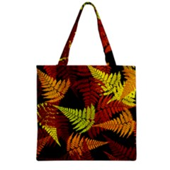 3d Red Abstract Fern Leaf Pattern Grocery Tote Bag