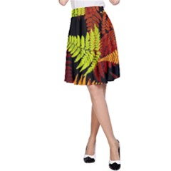 3d Red Abstract Fern Leaf Pattern A Line Skirt
