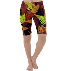 3d Red Abstract Fern Leaf Pattern Cropped Leggings