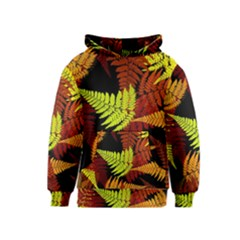 3d Red Abstract Fern Leaf Pattern Kids  Pullover Hoodie