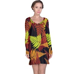 3d Red Abstract Fern Leaf Pattern Long Sleeve Nightdress