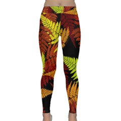 3d Red Abstract Fern Leaf Pattern Classic Yoga Leggings