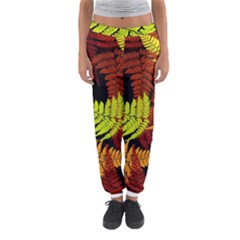 3d Red Abstract Fern Leaf Pattern Women s Jogger Sweatpants