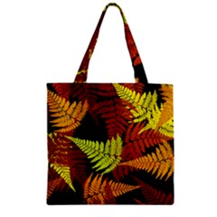 3d Red Abstract Fern Leaf Pattern Zipper Grocery Tote Bag