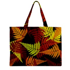 3d Red Abstract Fern Leaf Pattern Zipper Mini Tote Bag