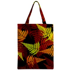3d Red Abstract Fern Leaf Pattern Zipper Classic Tote Bag
