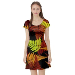 3d Red Abstract Fern Leaf Pattern Short Sleeve Skater Dress