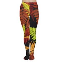 3d Red Abstract Fern Leaf Pattern Women s Tights