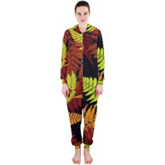 3d Red Abstract Fern Leaf Pattern Hooded Jumpsuit (Ladies)