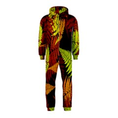 3d Red Abstract Fern Leaf Pattern Hooded Jumpsuit (Kids)