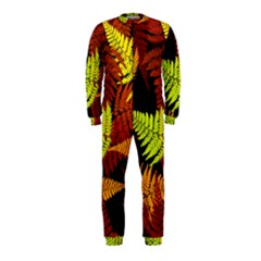 3d Red Abstract Fern Leaf Pattern Onepiece Jumpsuit (kids)