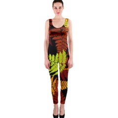 3d Red Abstract Fern Leaf Pattern Onepiece Catsuit