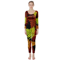 3d Red Abstract Fern Leaf Pattern Long Sleeve Catsuit