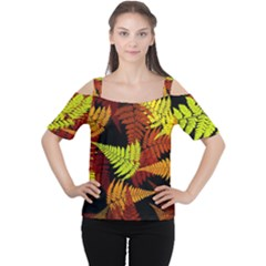 3d Red Abstract Fern Leaf Pattern Women s Cutout Shoulder Tee
