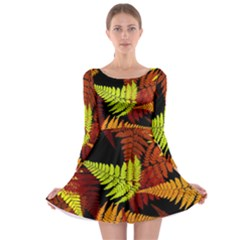 3d Red Abstract Fern Leaf Pattern Long Sleeve Skater Dress