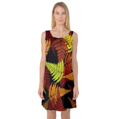 3d Red Abstract Fern Leaf Pattern Sleeveless Satin Nightdress