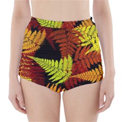 3d Red Abstract Fern Leaf Pattern High Waisted Bikini Bottoms
