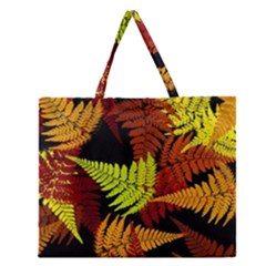 3d Red Abstract Fern Leaf Pattern Zipper Large Tote Bag