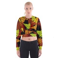 3d Red Abstract Fern Leaf Pattern Women s Cropped Sweatshirt