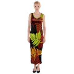 3d Red Abstract Fern Leaf Pattern Fitted Maxi Dress
