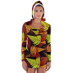 3d Red Abstract Fern Leaf Pattern Women s Long Sleeve Hooded T-shirt