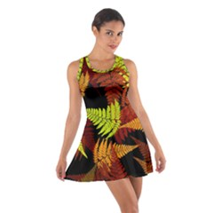 3d Red Abstract Fern Leaf Pattern Cotton Racerback Dress