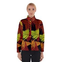 3d Red Abstract Fern Leaf Pattern Winterwear