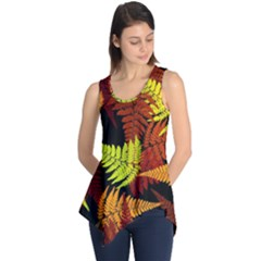 3d Red Abstract Fern Leaf Pattern Sleeveless Tunic