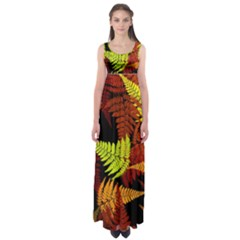 3d Red Abstract Fern Leaf Pattern Empire Waist Maxi Dress