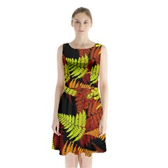 3d Red Abstract Fern Leaf Pattern Sleeveless Chiffon Waist Tie Dress