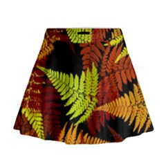 3d Red Abstract Fern Leaf Pattern Mini Flare Skirt