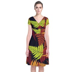 3d Red Abstract Fern Leaf Pattern Short Sleeve Front Wrap Dress