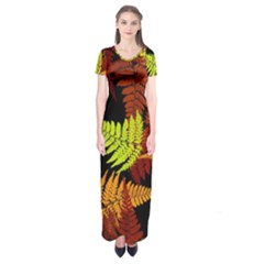 3d Red Abstract Fern Leaf Pattern Short Sleeve Maxi Dress