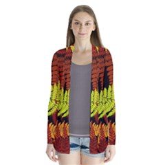 3d Red Abstract Fern Leaf Pattern Cardigans