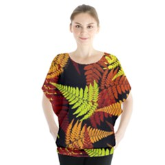 3d Red Abstract Fern Leaf Pattern Blouse