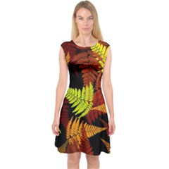 3d Red Abstract Fern Leaf Pattern Capsleeve Midi Dress