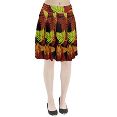 3d Red Abstract Fern Leaf Pattern Pleated Skirt