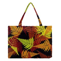 3d Red Abstract Fern Leaf Pattern Medium Tote Bag