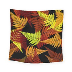 3d Red Abstract Fern Leaf Pattern Square Tapestry (small)