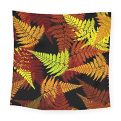 3d Red Abstract Fern Leaf Pattern Square Tapestry (large)