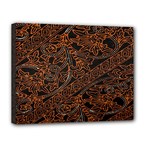 Art Traditional Indonesian Batik Pattern Canvas 14  X 11