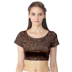 Art Traditional Indonesian Batik Pattern Short Sleeve Crop Top (tight Fit)