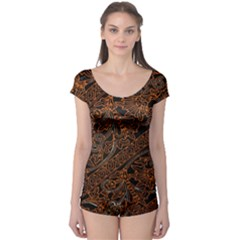 Art Traditional Indonesian Batik Pattern Boyleg Leotard