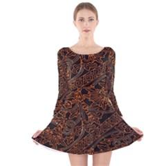 Art Traditional Indonesian Batik Pattern Long Sleeve Velvet Skater Dress