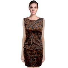 Art Traditional Indonesian Batik Pattern Classic Sleeveless Midi Dress