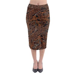 Art Traditional Indonesian Batik Pattern Midi Pencil Skirt