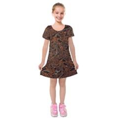 Art Traditional Indonesian Batik Pattern Kids  Short Sleeve Velvet Dress