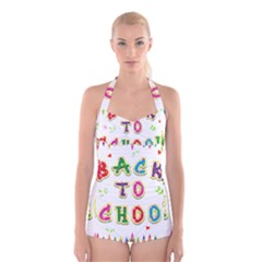 Back To School Boyleg Halter Swimsuit