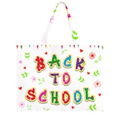 Back To School Zipper Large Tote Bag