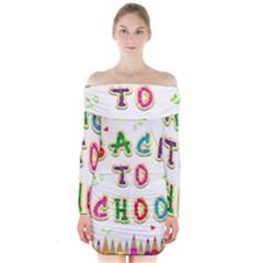 Back To School Long Sleeve Off Shoulder Dress